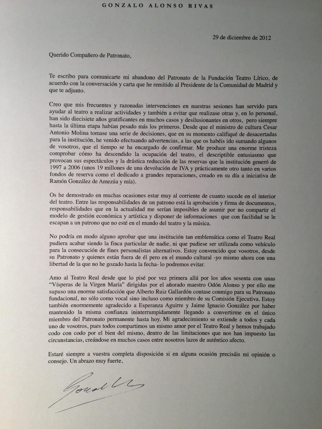 La carta de Gonzalo Alonso al Patronato del Teatro Real con los motivos de su dimisión