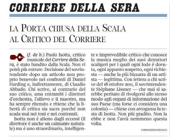Isotta, crítico de referencia en Italia expulsado de la Scala