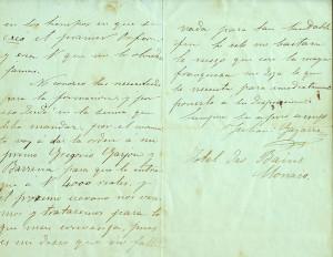 Carta manuscrita de Gayarre