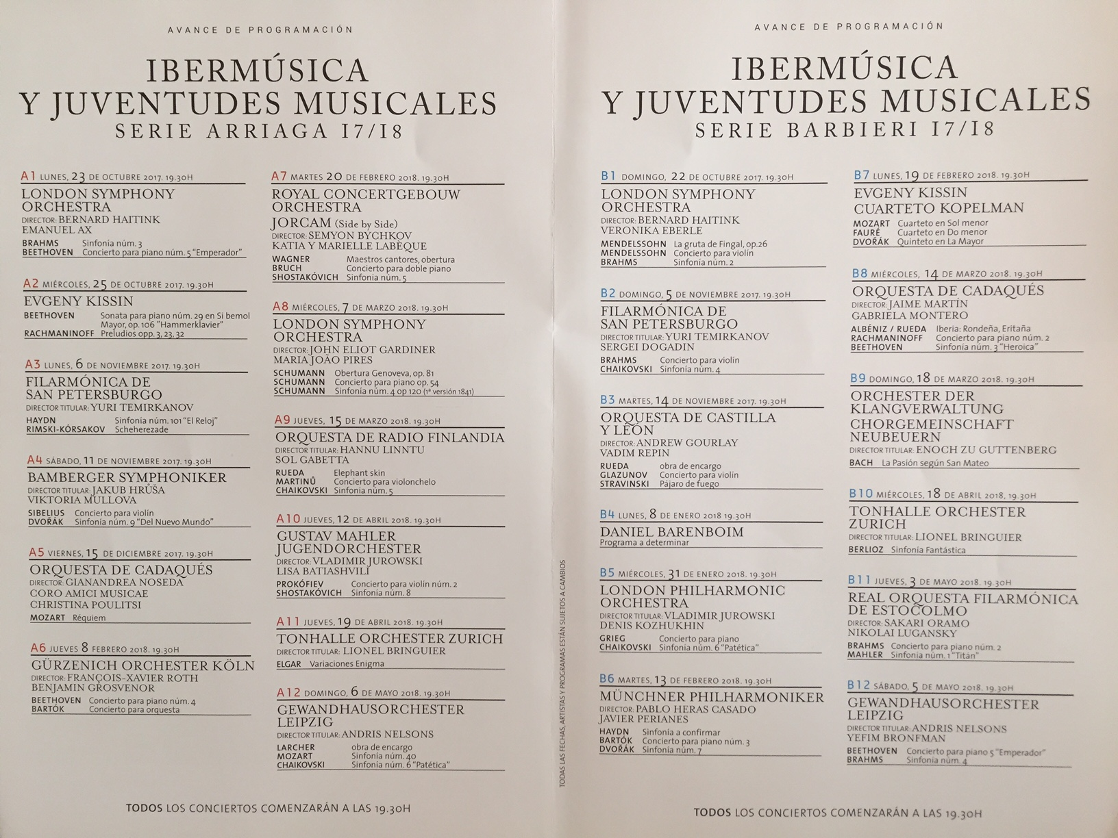 Temporada de Ibermúsica/Juventudes Musicales 2017/18
