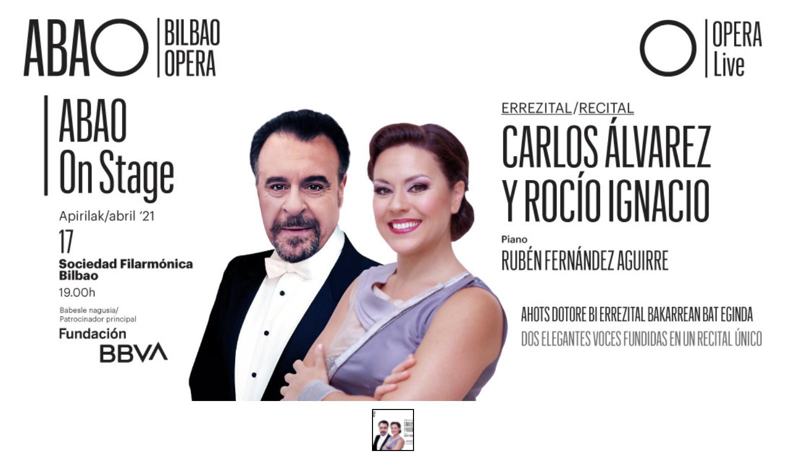 Carlos Álvarez y Rocío Ignacio continúan el ciclo ABAO On Stage